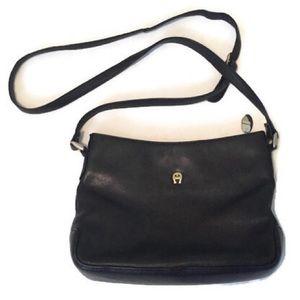 Etienne Aigner black leather crossbody bag